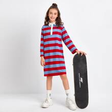 Polo Kleid mit Farbblock und Streifen
