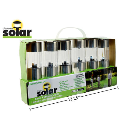 Outdoor Lamp Solar LED Light Stake Set for Patio/Lawn/Yard/Driveway/Walkway Decor, 9.75