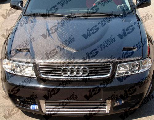 VIS Racing 96AUA44DEUR-010C Carbon Fiber Euro R Style Hood Audi S4 96-03