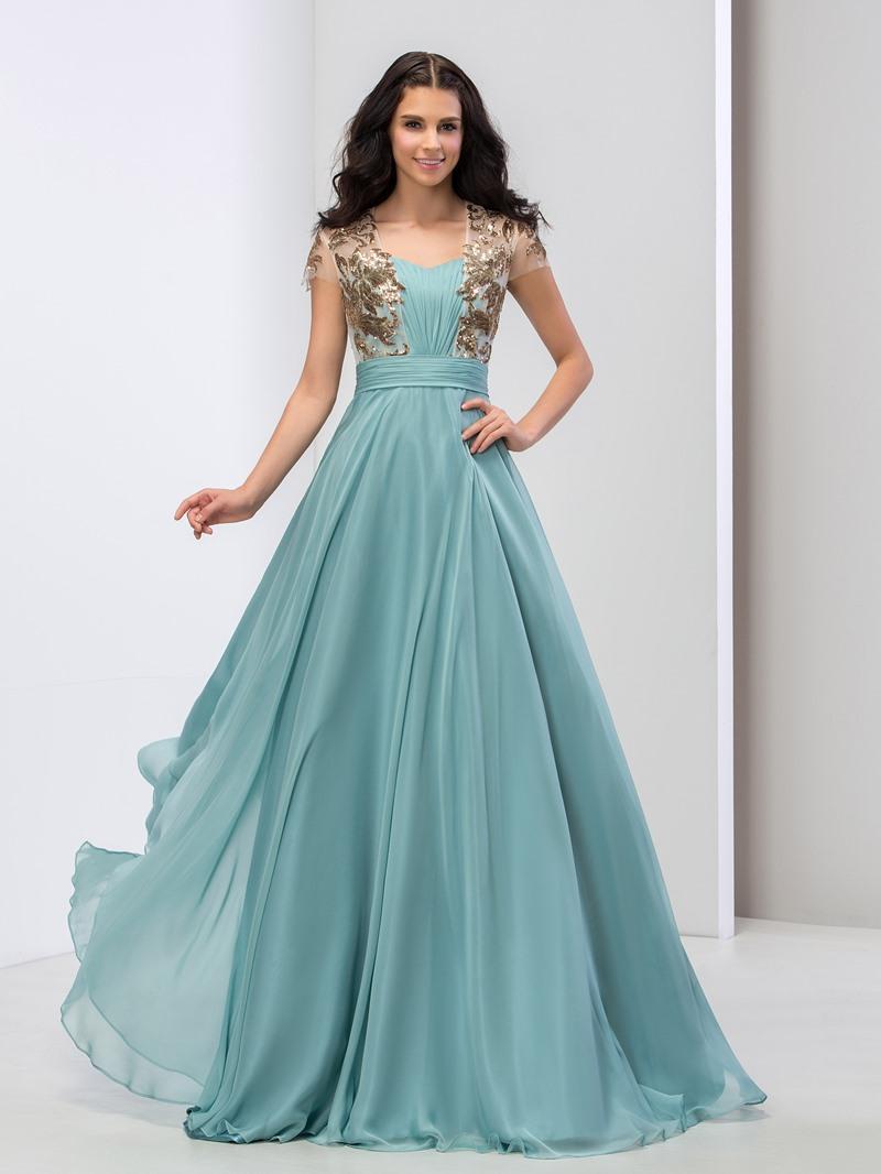 Ericdress A-Line Short Sleeve Sequins Pleats Prom Dress