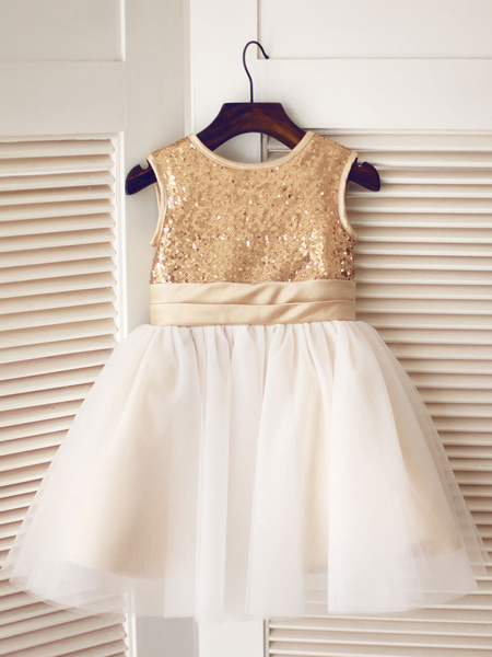 Milanoo Flower Girl Dresses Jewel Neck Tulle Sleeveless Knee Length Princess Silhouette Sash Kids Social Party Dresses
