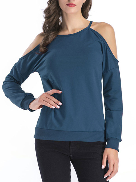 Milanoo Camisa de mujer Manga larga Azul Recortada Hombro abierto Cuello joya Algodon Mujer Top