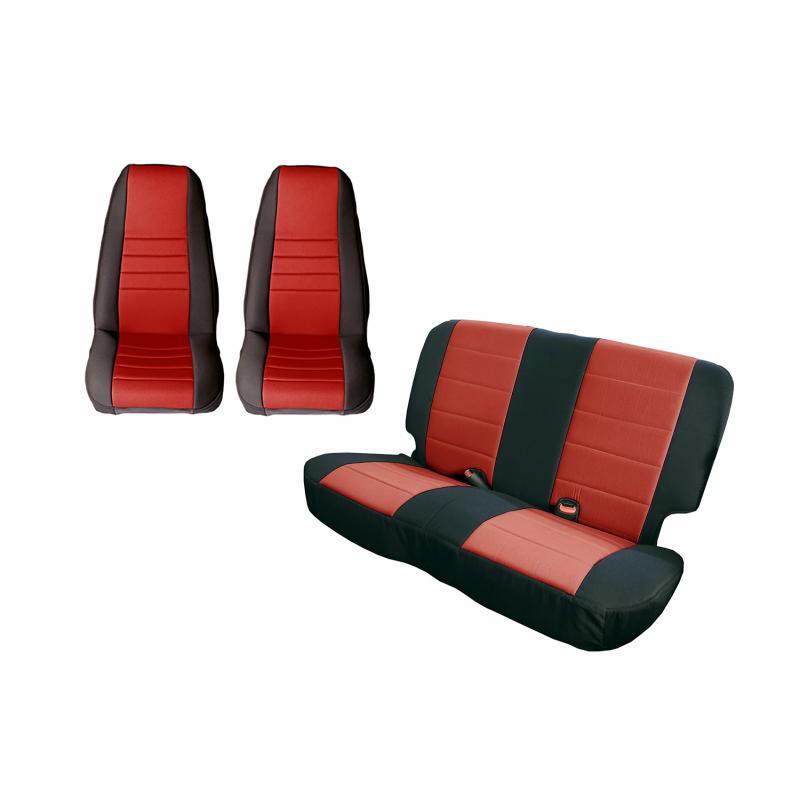 Rugged Ridge 13290.53 Seat Cover Kit, Black/Red; 80-90 Jeep CJ/Wrangler YJ Jeep