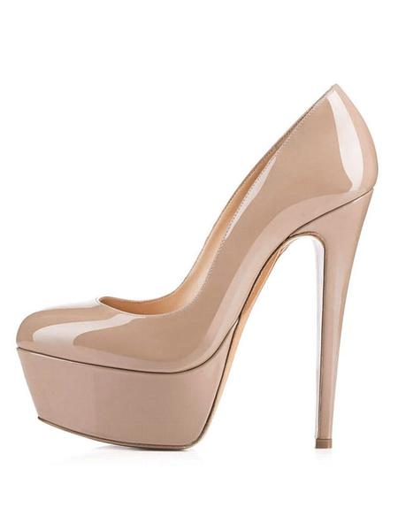 Milanoo Women's Red Platform Heels 2020 Sexy Round Toe Slip On Pumps Stiletto Heeled Shoes