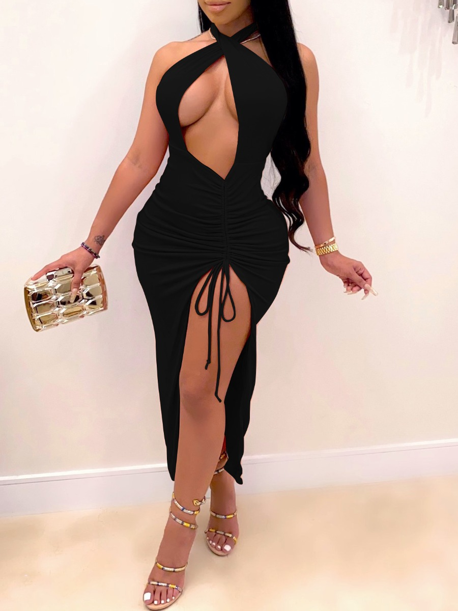 LW lovely Sexy Backless Hollow-out Black Ankle Length Dress