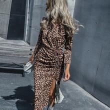 Kleid mit Leopard Muster, Schlitz und Kordelzug