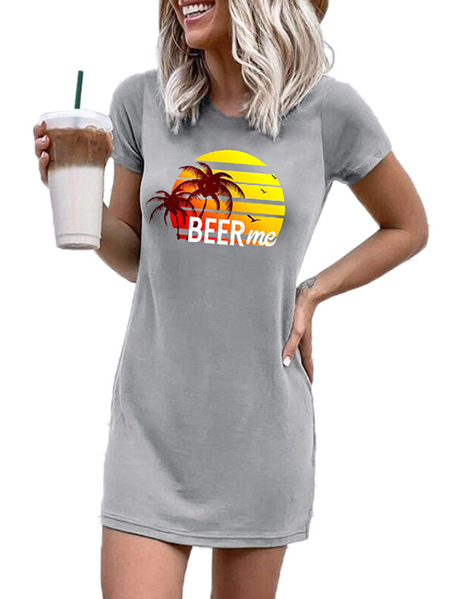 Yoins Grey Graphic Crew Neck Short Sleeves Dress