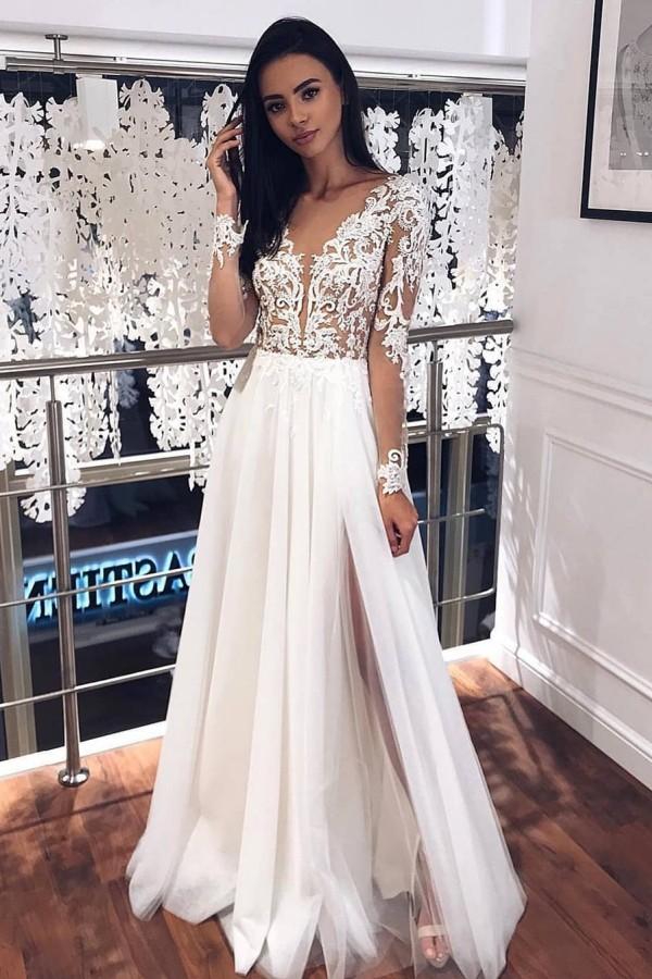 V-cou Appliques manches longues robes de mariee A-ligne | Robes de mariee en tulle plisse fendu sur le cote
