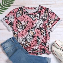 Butterfly & Graphic Print Tee