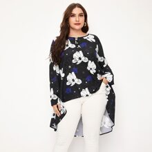Plus Floral Print High Low Blouse