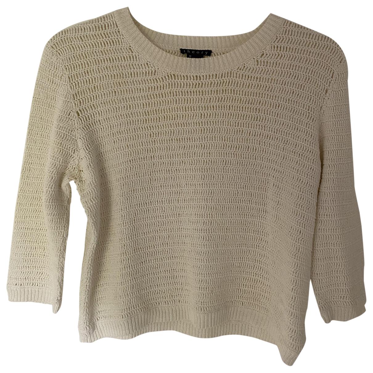 Theory - Pull   pour femme en coton - beige