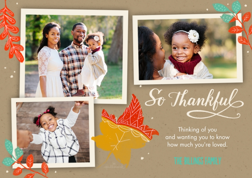 Thanksgiving Photo Cards 5x7 Cards, Premium Cardstock 120lb with Scalloped Corners, Card & Stationery -So Thankful Leaves