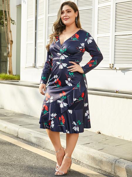 YOINS Plus Size Navy Ruffle Trim Floral Print Dress