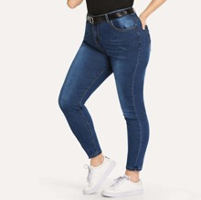 Blau  Knopfe  Casual  Ubergrosse Jeans
