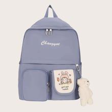 Rucksack mit Taschen vorn und Baeren Anhaenger