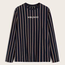 Men Letter Graphic Striped Tee