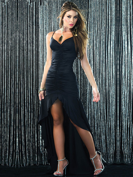 Milanoo Black Club Dress Sleeveless Ruched Backless High Low Sexy Party Dress