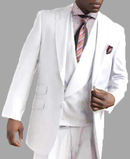 Men's 2 Button Single Breasted White Peak Lapel Vested Side Vent Suit