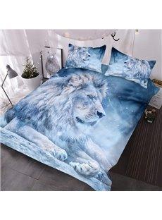 Winter Lion 3D Warm Comforter 3-Piece Soft Comforter Sets with 2 Pillowcases