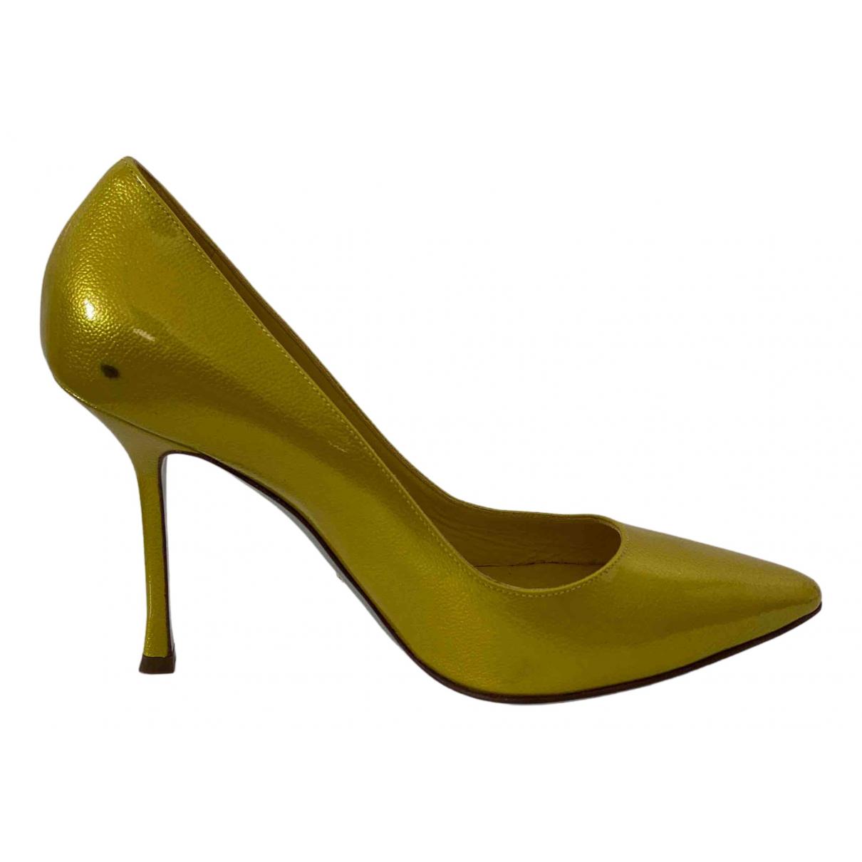 Sergio Rossi - Escarpins   pour femme en cuir - jaune