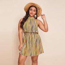 Kleid mit Streifen, Rueschen, Band hinten und Neckholder