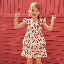 Kleinkind Maedchen Kleid mit Kirsche Muster und Raffung