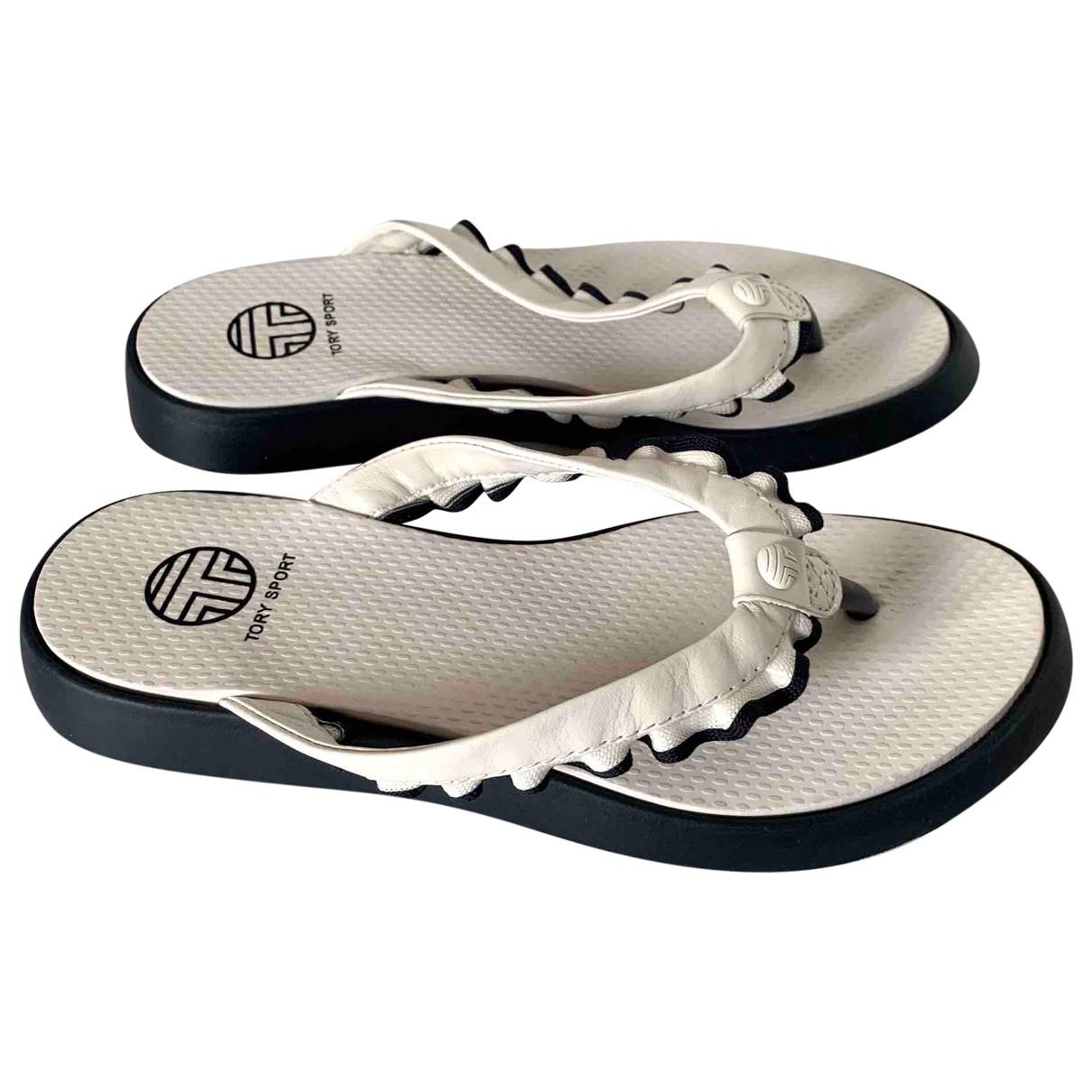 Tory Sport - Sandales   pour femme en cuir - blanc