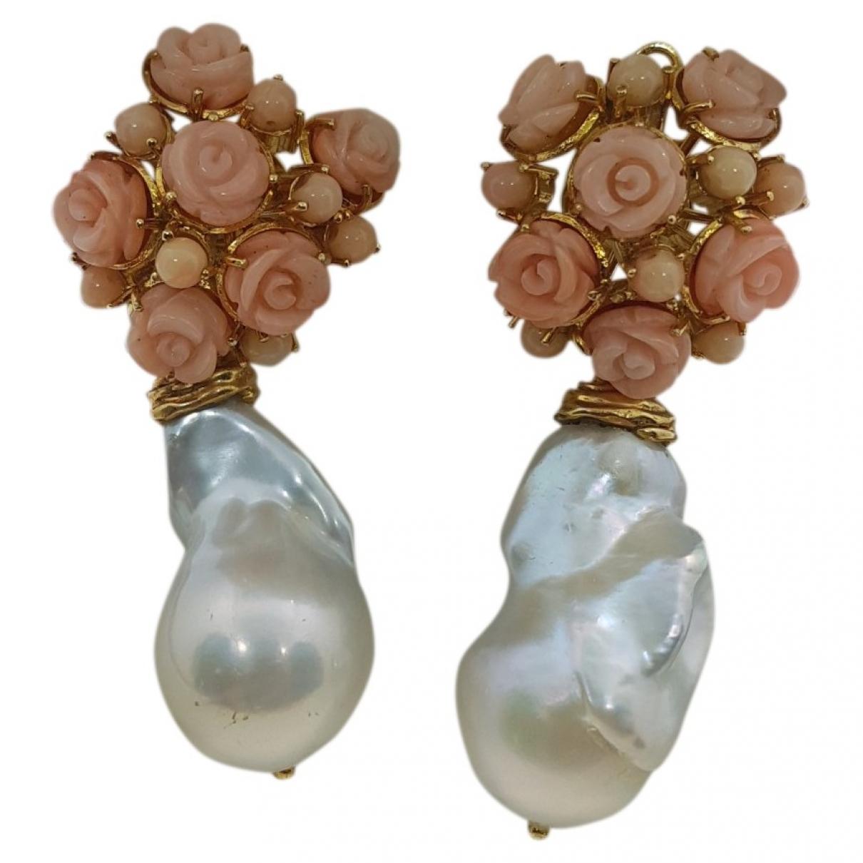- Boucles doreilles Corail pour femme en perle