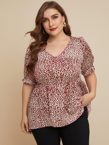 YOINS Plus Size Red Leopard V-neck Short Sleeves Blouse