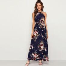 Floral Print Tie Back Belted Maxi Dress