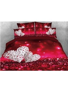 Vivilinen Love Heart Shape Printed 4-Piece 3D Bedding Sets/Duvet Cover