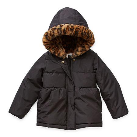 Okie Dokie Toddler Girls Hooded Lined Faux Fur Trim Heavyweight Puffer Jacket, 2t , Black