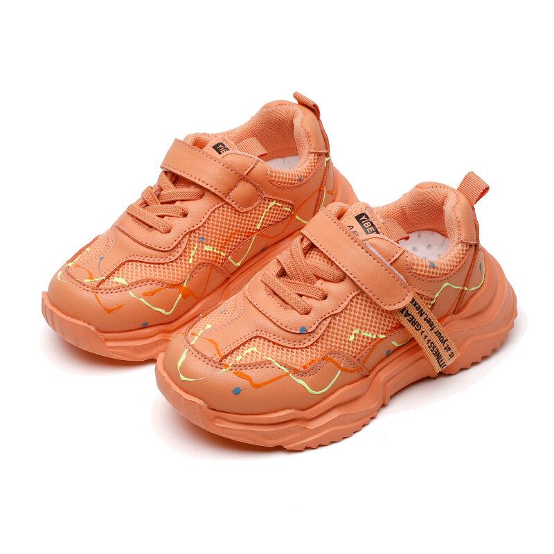 Unisex Kids Mesh Splicing Breathable Slip Resistanlt Luminous Running Shoes