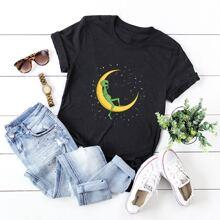 T-Shirt mit Mond & Alien Muster