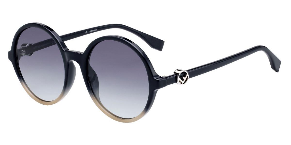 Fendi FF 0319/G/S PJP/GB Women's Sunglasses Black Size 55