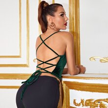 Lace Up Backless Velvet Cami Top