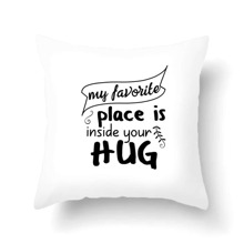 1pc Slogan Print Cushion Cover Without Filler