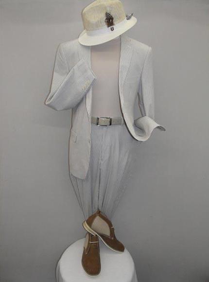 Men 2 Button White Shadow Stripe Pattern Notch Lapel Casual Suit
