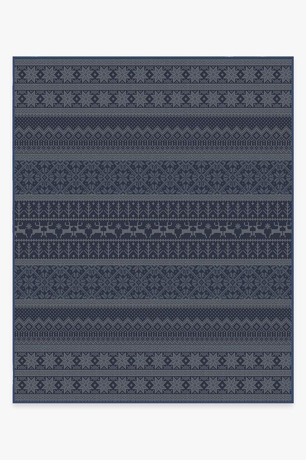 Washable Rug Cover & Pad | Fair Isle Blue Rug | Stain-Resistant | Ruggable | 8x10