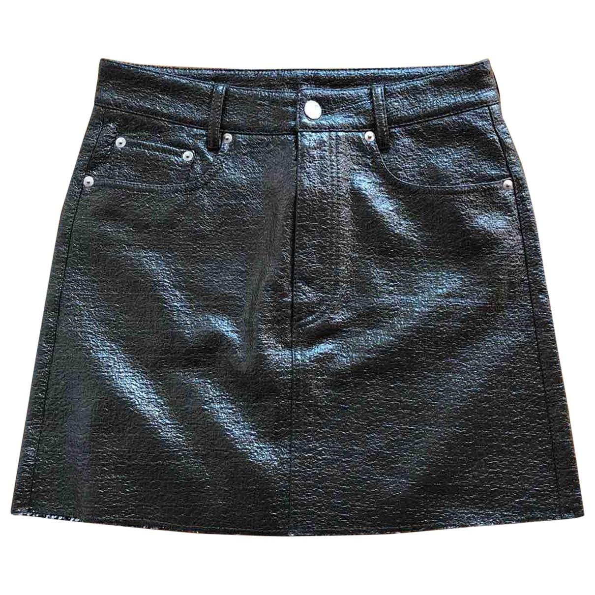 Mm6 - Jupe   pour femme en cuir verni - noir