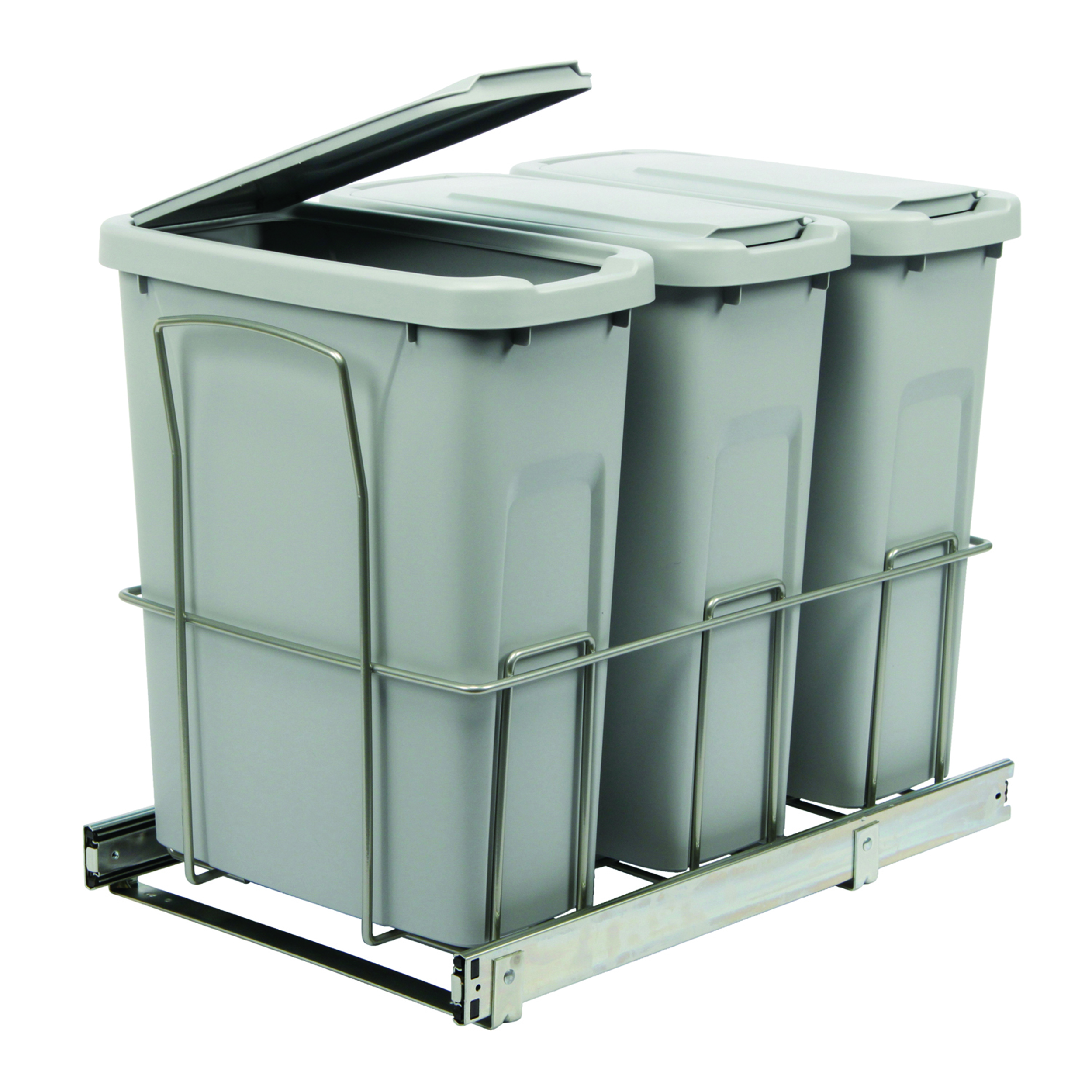 Real Solutions Triple 20qt Pull-out Waste & Recyling Unit with Lid, Platinum