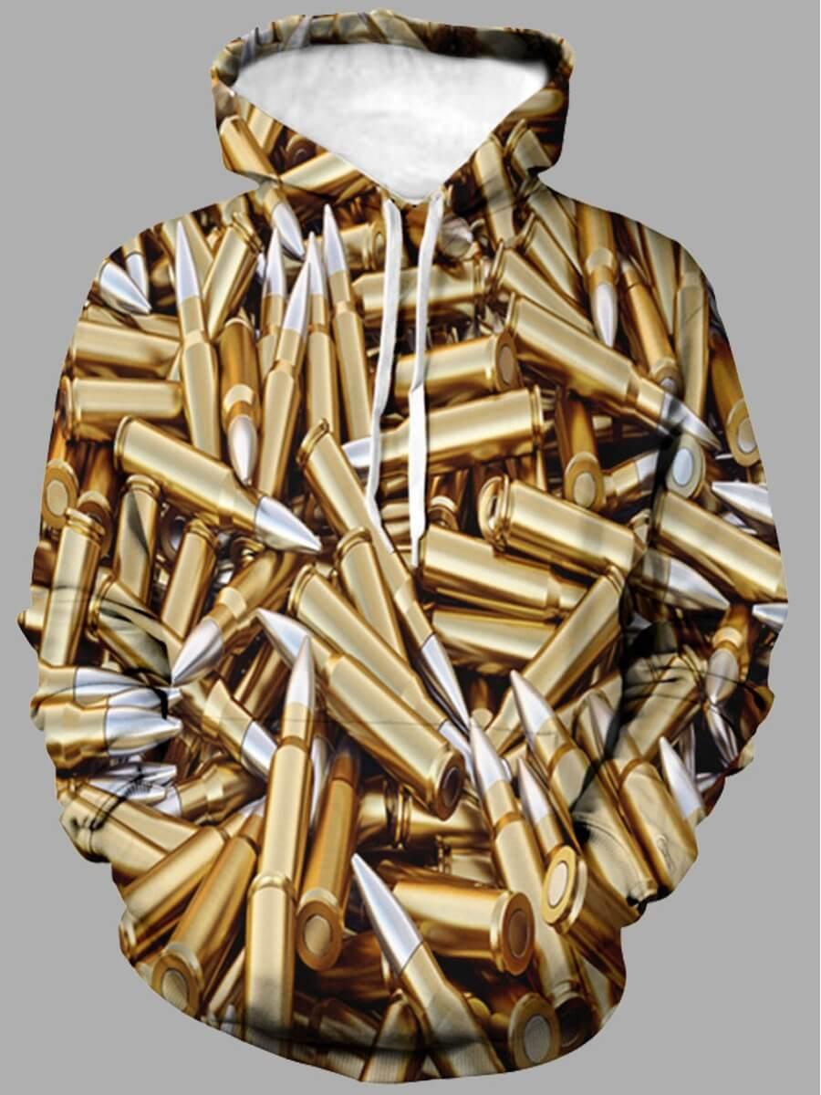 LW Lovely Street Hooded Collar Print Gold Men Hoodie