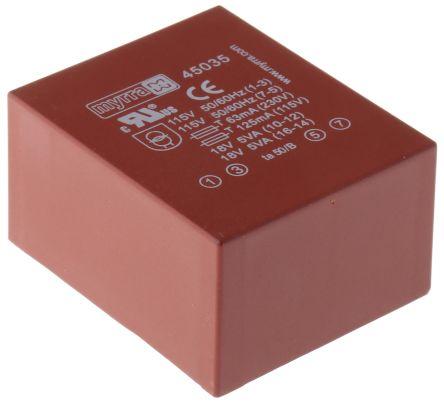 Myrra 18V ac 2 Output Through Hole PCB Transformer, 10VA