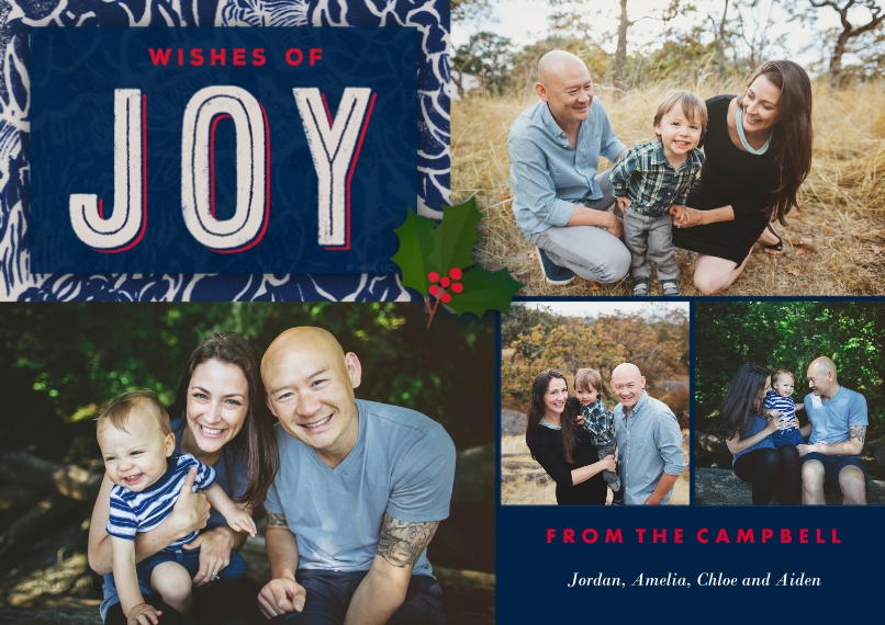 Holiday Photo Cards 5x7 Cards, Premium Cardstock 120lb, Card & Stationery -Navy and Red Joy