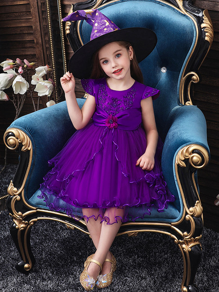 Milanoo Kids Witch Cosplay Costumes Flower Applique Red Halloween Dress With Hat for Child