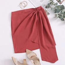 Wrap Draped Solid Skirt