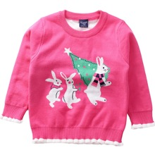 Toddler Girls Christmas Pattern Contrast Trim Sweater