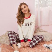 Letter Pattern Flannel Top & Plaid Pants PJ Set