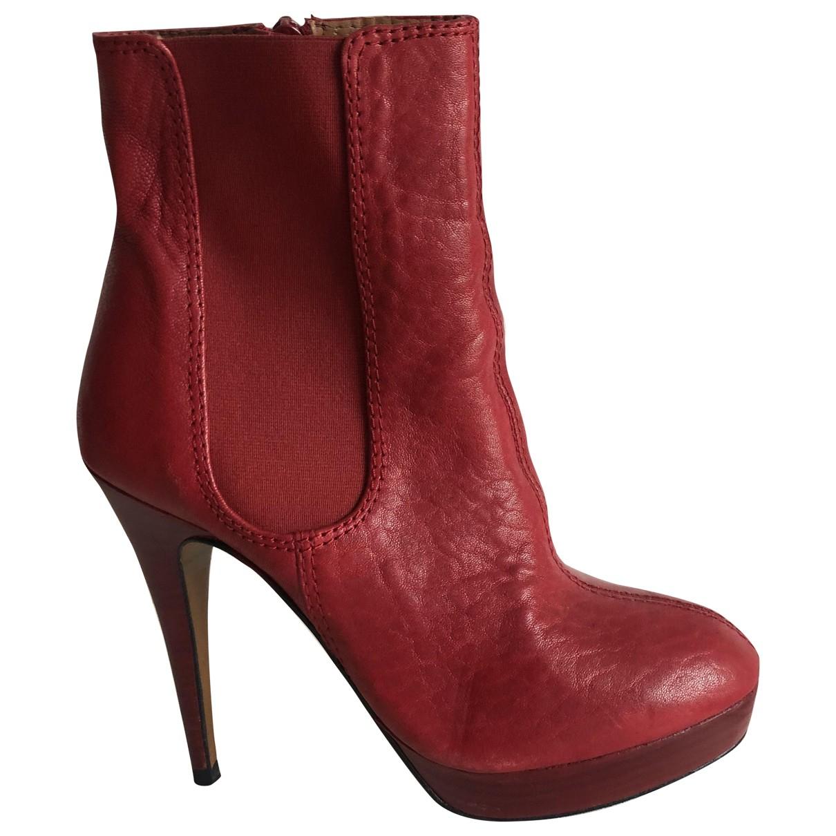 Zara - Boots   pour femme en cuir - rouge