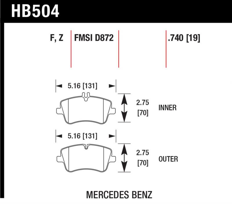 Hawk Performance HB504F.740 Disc Brake Pad Mercedes-Benz Front